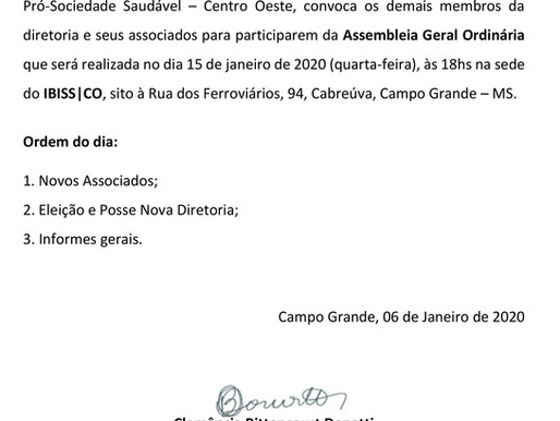 EDITAL DE CONVOCAÇÃO ASSEMBLEIA – GERAL ORDINÁRIA