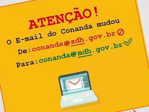 O E-mail do Conanda mudou!