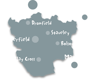 Chesterfield to Dronfield, Newbold to Ashover, and across North East Derbyshire