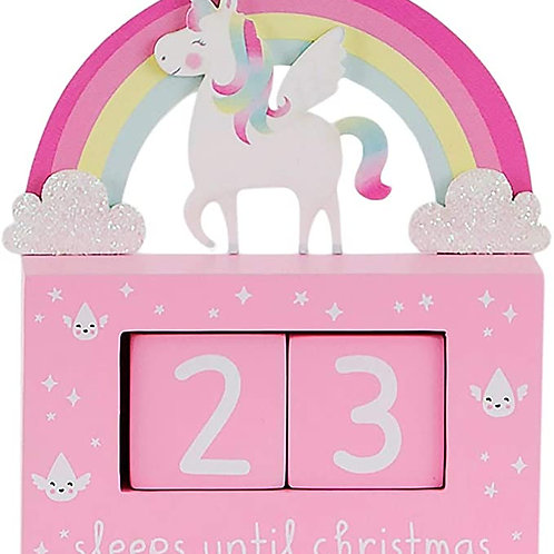 Wooden Unicorn Christmas Countdown