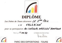 Diplome Valerian magicien Blois