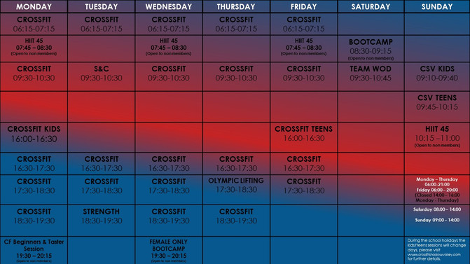 Weekly CrossFit taster, beginner and female only bootcamp session's added to the timetable.