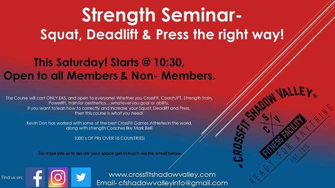 Strength Seminar.