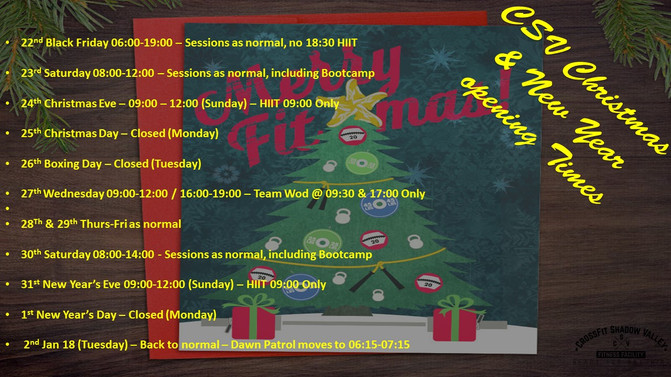 CSV's Christmas & New Year Opening Times