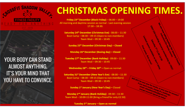 Xmas opening times + January's CrossFit Induction