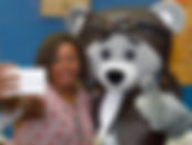 Selfie avec Fouga la mascotte