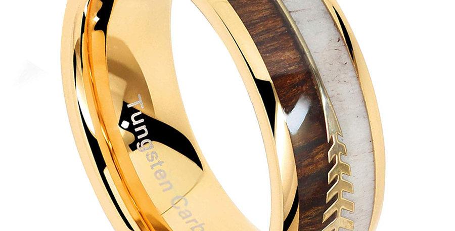 Tungsten Ring for Men Wedding Band Deer Antler Koa Wood Inlaid Engagement