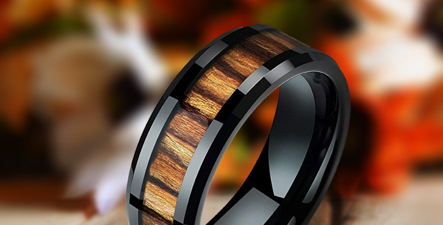 Mens Wedding Band Black Tungsten Carbide Ring Wood Inlay