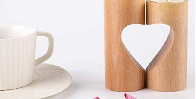 Wood candle holders Set of 2 Unity Heart Pedestal for Home Decor