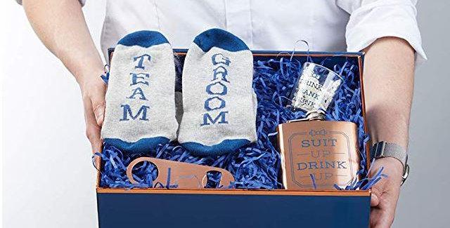 Groomsman Gift Set - Decorative Box, Socks, Bottle Opener, Flask and Shot Glass