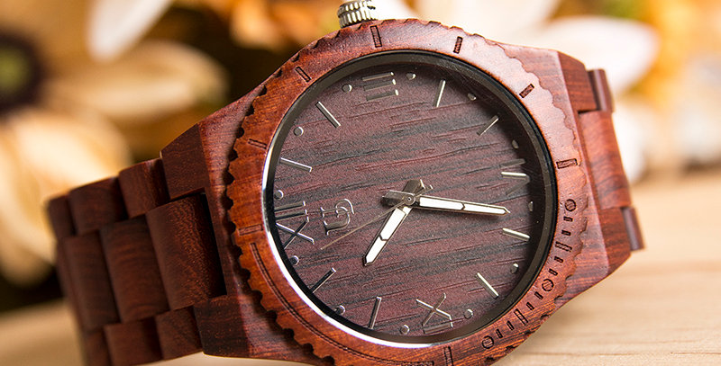 Elegant Personalized/Engraved Red Sandal Round Wooden Watch