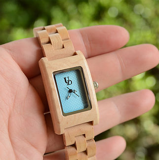Womens Wood Watch Rectangle Square Lightweight Elegant Blue Dial Natural Wood.jpg