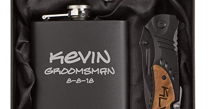 Groomsman Gift Set -Engraved Stainless Steel Flask Funnel Rescue Knife Gift Box
