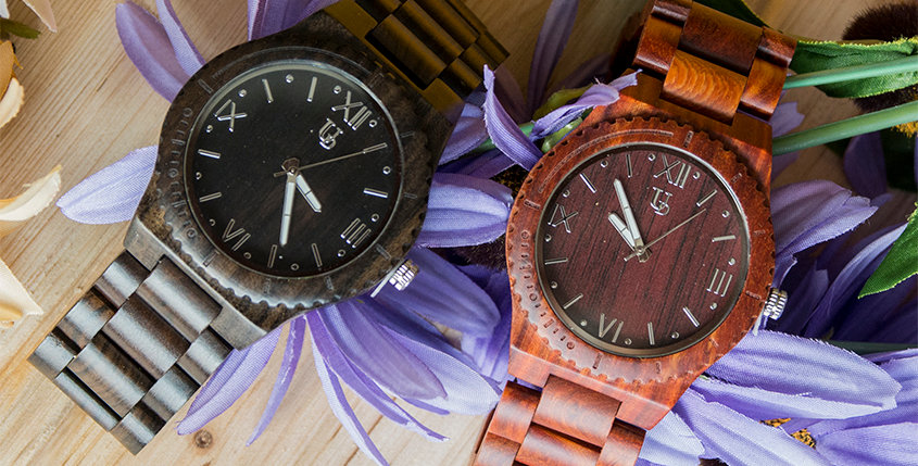 Personalized/Engraved His and Hers Wooden Watches