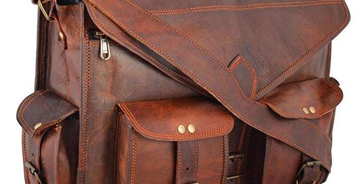 Handmade 18 Inch Vintage Handmade Leather Laptop Briefcase
