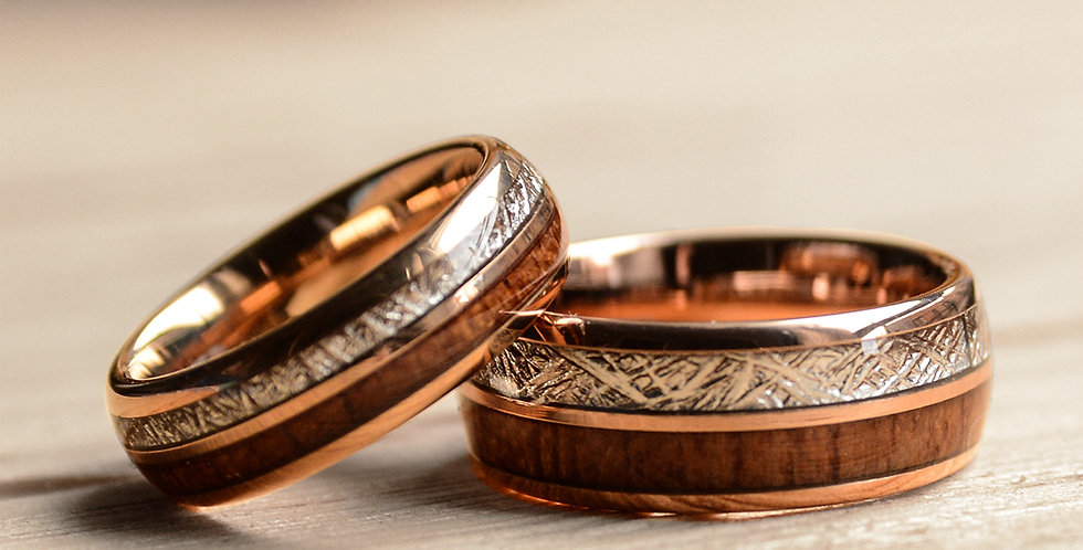 Match His and Hers Rose Gold Tungsten Rings With Meteorite And Wood-Wood Wedding