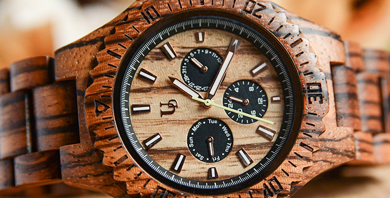 UD Personalized Multi-Function Chronograph Zebra Round Wooden Watch