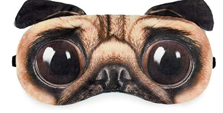 Cute Pug Sleep Eye Mask Soft Eyeshade for Bedtime & Travel