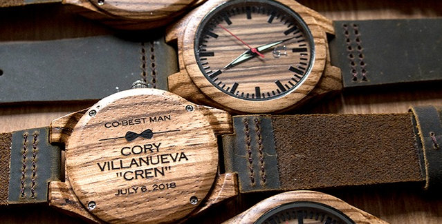 Groomsmen Watches: Engraved Zebra Wood Face Watch with Genuine Leather Band