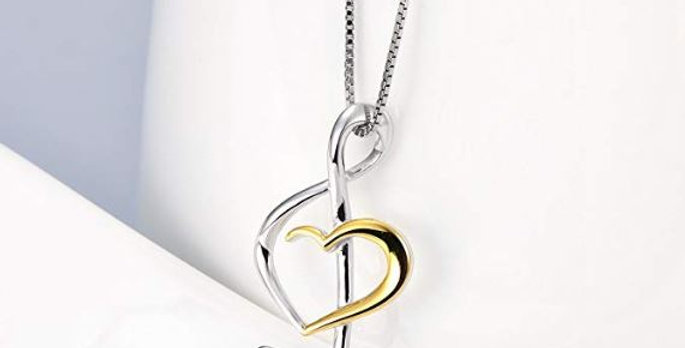 Musical Note Necklace Women's Pendant 925 Sterling Silver