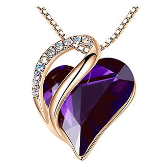 Leafael 18K Rose Gold Plated Love Heart Pendant Necklace.jpg