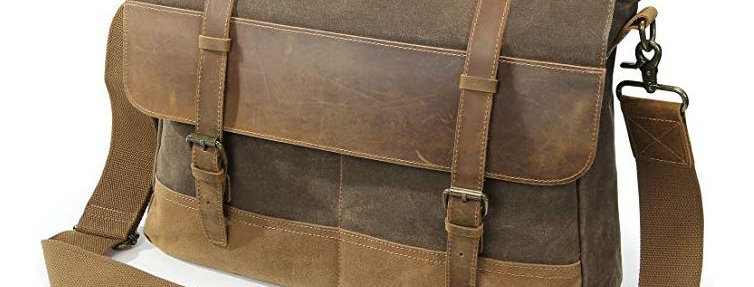 Mens 15.6 Inch Waterproof Vintage Waxed Canvas Genuine Leather Lap Messenger Bag