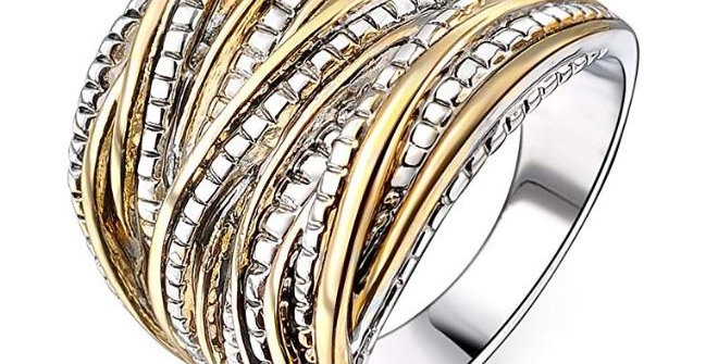 2 Tone Intertwined Crossover Statement Ring Fashion Chunky Band Rings