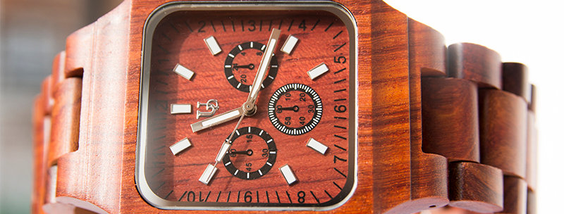 UD Engraved Mens Red Sandal Square Wood Watch