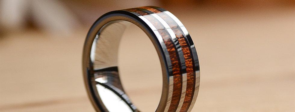 8mm Inlay Two Koa Wood Inlay Tungsten Wood Ring