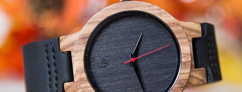 Elegant Personalized/Engraved Ebony Wood Watch with Genuine Leather Band