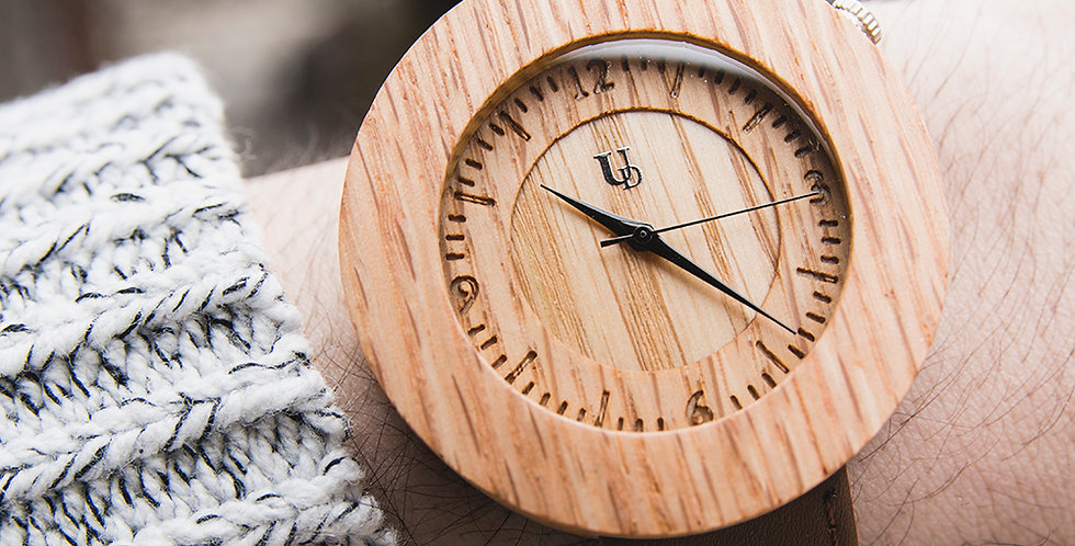 Elegant Personalized/Engraved Zebra Wood Face Watch with Genuine Leather