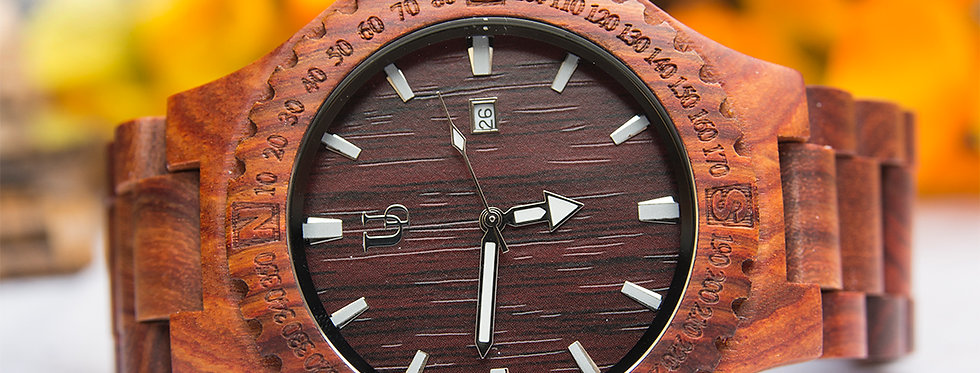 Elegant Personalized/Engraved Red Sandal Round Wooden Watch with Date