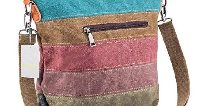 Women Canvas Multi-Color Striped Lattice Cross Body Shoulder Purse Bag
