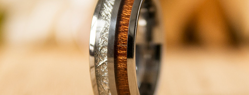 UD 8mm Deer Antler Inlay Wood Inlay Tungsten Carbine Wedding Bands