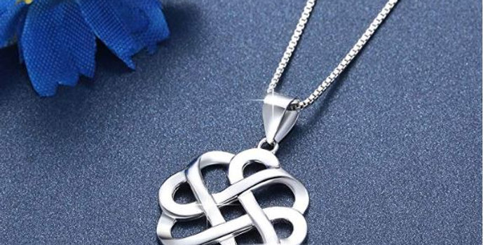 925 Sterling Silver Polished Celtic Knot Cross Pendant Necklace for Women