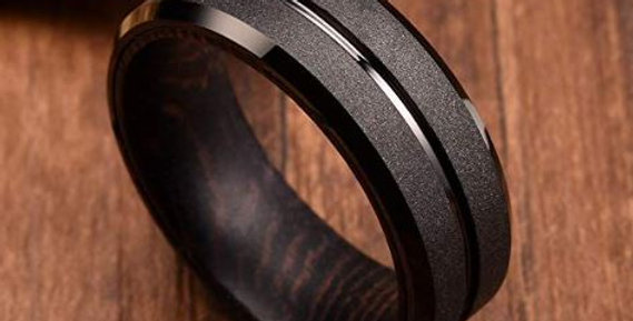 Black Tungsten Carbide Wedding Ring Wood Inlay Grooved Center Matte Finished