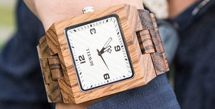 UD Classic Engraved Mens Zebral Square Wood Watch