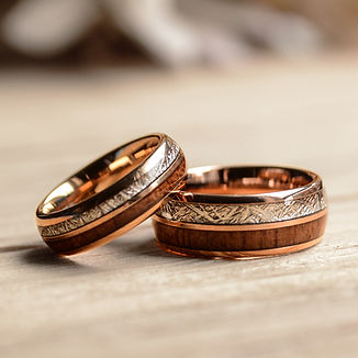 match his and hers rose gold  tungsten ring with meteorite and wood-wedding band wooden.jp