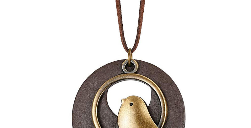 Vintage Handmade Wood Pendant with Cute Charms Long Leather Necklace