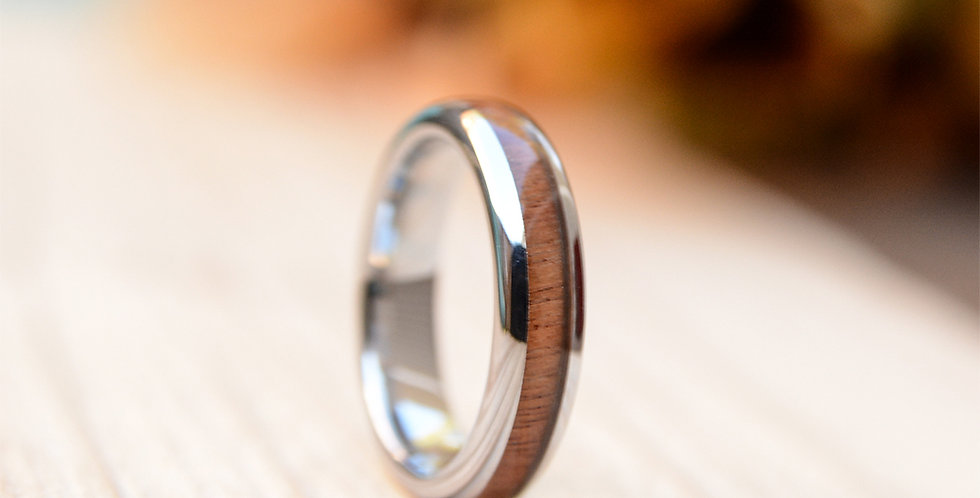 Wood Wedding Band For Women - 4mm Tungsten Wedding Ring Domed with Real Koa Wood