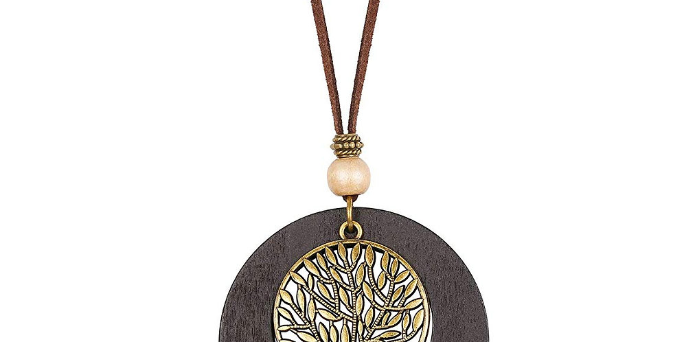 Handmade Wood Pendant Long Leather Necklace