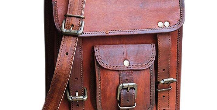 Genuine vintage leather satchel crossbody shoulder messenger bag