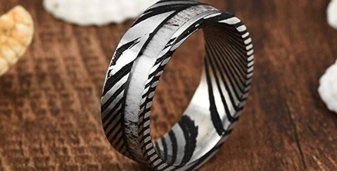 Damascus Steel Mens Wedding Ring Wood Inlay Grooved Center Matte