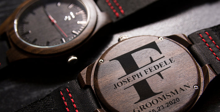 Best Groomsmen Gifts- Engraved Ebony Wood Watch with Genuine Leather Band
