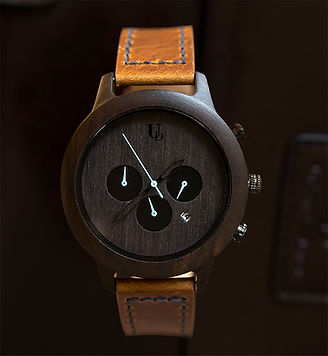 UD Mens Multi-Function Chronograph Personalized Engraved Wooden Watch with geniune leather