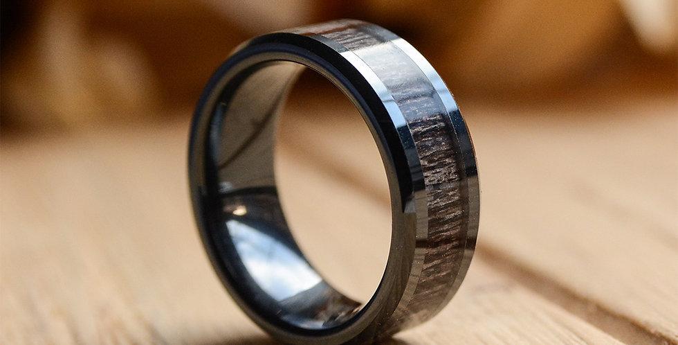 8mm Black Koa Wood Ceramic Ring Wedding Band Polished Finish Comfort Fit