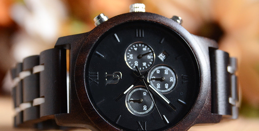 Men's Chronograph Wood Watch Dark Wood & Stainless Steel Combined Watch Band