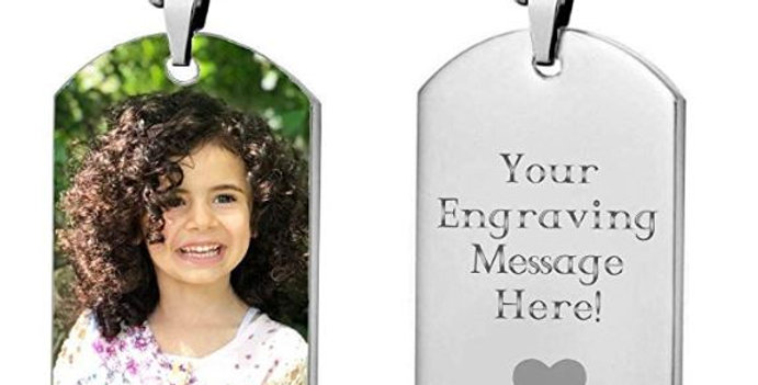 Personalized Custom Photo High Polished Color Engraved Dog Tag Necklace Pendant
