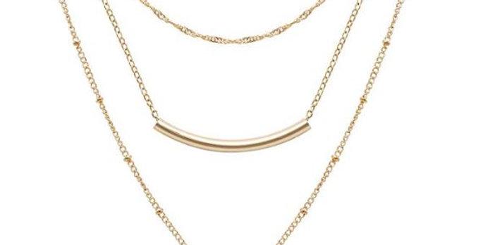 Women Handmade Coin Tube Star Pendant Multilayer Adjustable Layering Chain