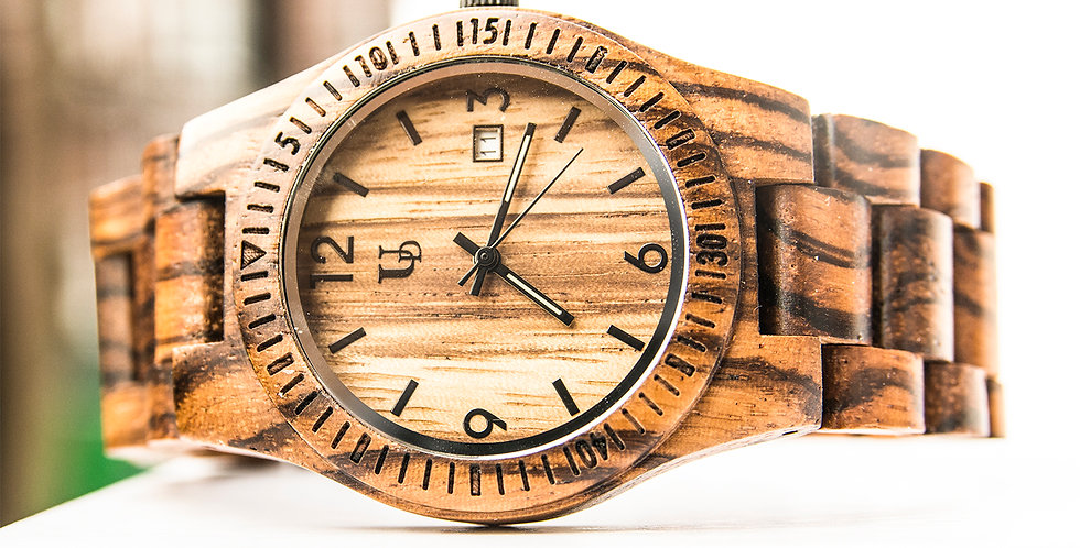 Unisex Zebra Thin Round Wooden Watch with Date